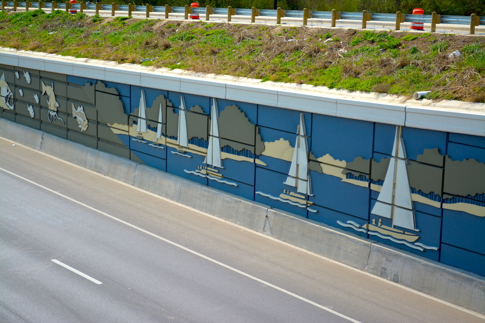 Sailboats and Fish Highway Mural using Concrete Formliners