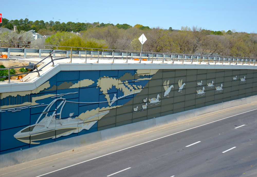 Waterski and Ducks Highway Mural using Concrete Formliners